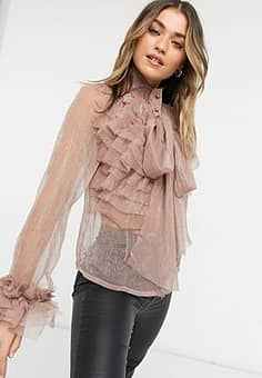 Little Mistress extreme ruffle blouse with cuff details in metallic mink-Cream