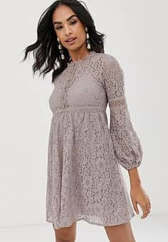 Little Mistress keyhole button fastening mini lace dress-Pink