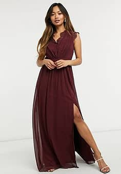 Little Mistress lace detail maxi dress in red
