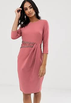 Little Mistress long sleeve embellished lace insert midi dress-Pink
