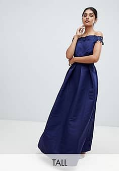 Little Mistress bardot full prom midaxi dress with applique-Navy