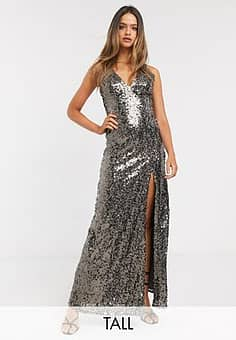 strappy sequin maxi gown in copper-Gold