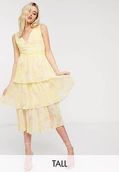 tiered midi dress in lemon floral-Yellow