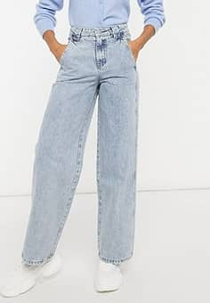 high waist vintage fit jeans with panels in mid wash-Blue