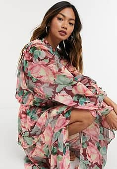 Lost Ink maxi dress with tiered skirt and high neck in vintage floral-Multi