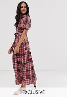 Lost Ink midi shirt dress in check-Red