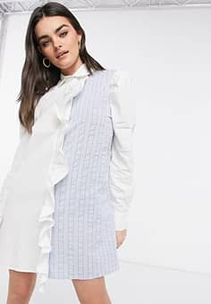 Lost Ink shirt dress with balloon sleeves in mixed fabrics-Blue