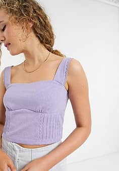 structured crop top with lace trim-Purple