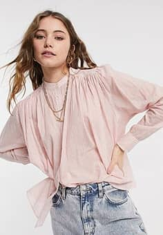 lightweight pleated cotton shirt-Pink