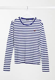 long sleeve stripe jersey top-Blue
