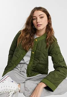 reversible quilted liner jacket-Green