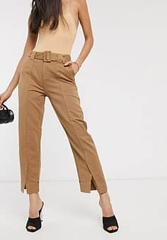 tailored belted chino trousers-Brown