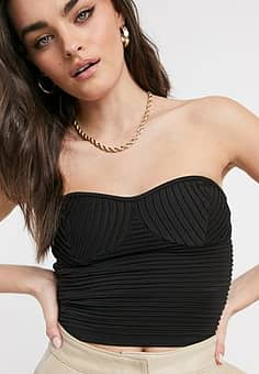 corset ribbed knitted top in black