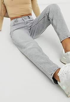 slim mom jean in washed light grey