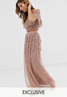 all over embellished maxi skirt in mauve-Purple