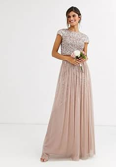 Bridesmaid delicate sequin tulle skirt co ord in taupe-Brown