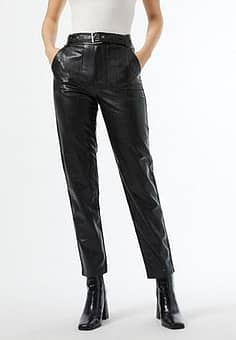 faux leather belted trouser in black