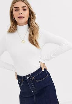 rib tee with funnel neck in ivory-Cream
