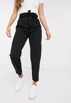 scuba paperbag trousers in black
