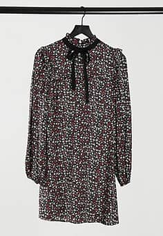 smock dress with tie neck detail in black ditsy floral