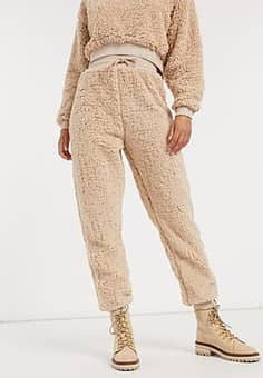 teddy joggers co-ord in camel-Tan