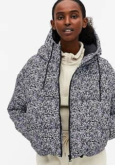 Amber recycled short padded jacket with hood-Multi