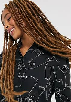 Hella recycled polyester face print blouse in black
