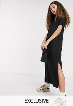 Isabella jersey midi t-shirt dress with side split in black