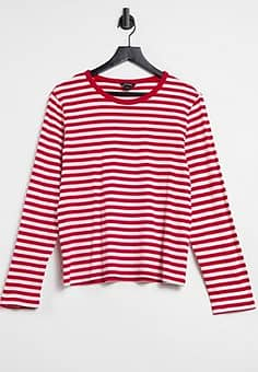 Monki long sleeve stripe t-shirt in red