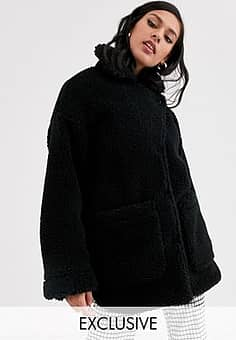 longline teddy jacket with over