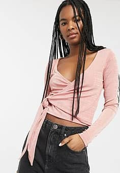 Olina jersey wrap top in pink