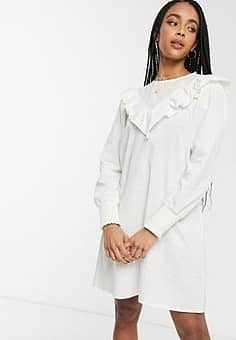 ruffle detail smock dress in white