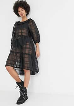 ruffle neck checked organza skater dress in black