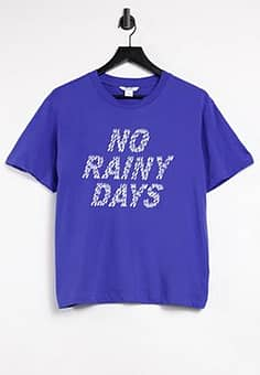 Monki slogan t-shirt in blue
