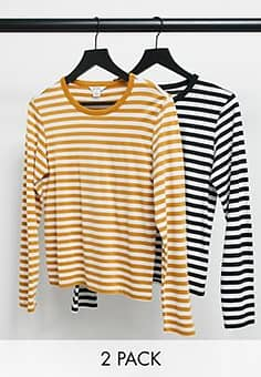Monki Ursula organic cotton 2 pack long sleeve t-shirt in black and yellow stripe-Multi