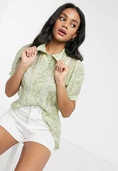 patterned organza shirt in lime multi-Green