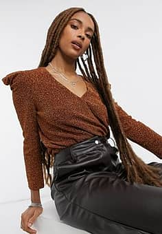 ruched sparkle top in rust-Brown