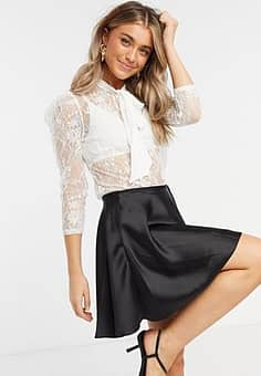all over sheer lace blouse with tie bow detail in off white