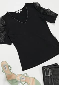 lace puff sleeve top in black