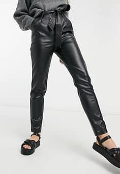 pu belted relaxed fit trousers in black