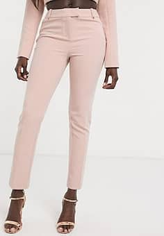 satin trim cigarette pant in dusty pink