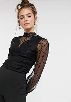sheer floral dotty lace body in black