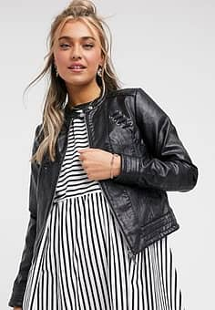 Morgan zip biker jacket with ruffle back detail in black
