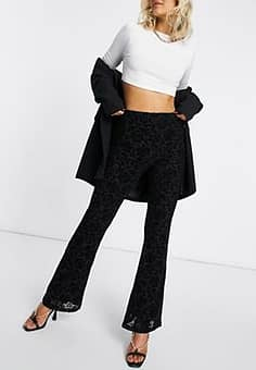 high waisted flares in rose mesh flocking co-ord-Black