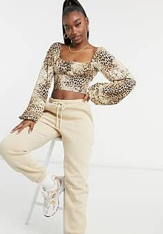 milk maid crop top with ruched bust in sand leopard-Neutral