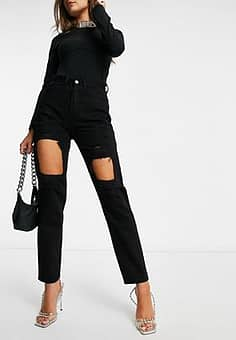 high waisted extreme rip mom jeans in black
