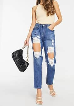high waisted extreme rip mom jeans in stonewash blue-Grey