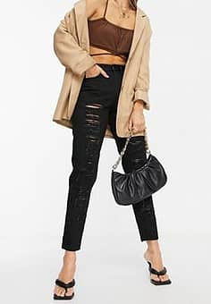 high waisted ripped mom jeans in black
