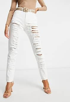 high waisted ripped mom jeans in white