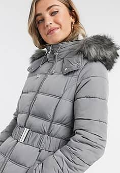 New Look belted padded jacket in grey